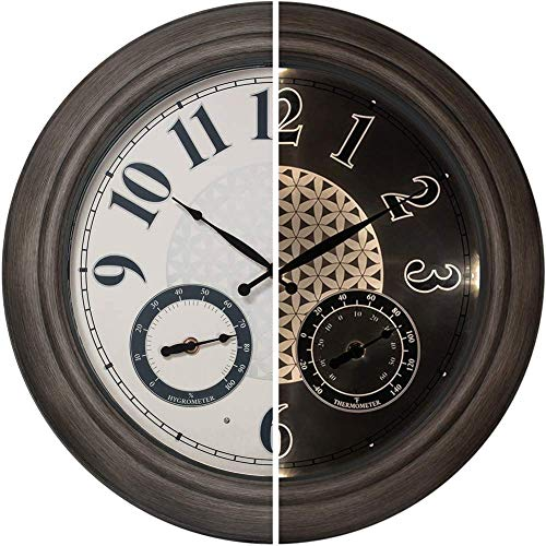 "PresenTime & Co 18"" Indoor / Outdoor Luminous Farmhouse Wall Clock with Thermometer & Hygrometer, Quartz Movement-Grey Oak Finish, Bright Warm Light"