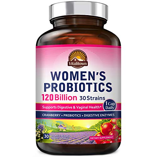 Vitalitown 120 Billion CFUs Women's Probiotics 1 Cap Daily | 30 Strains + Prebiotics + Digestive Enzymes + Cranberry | Shelf Stable | Gut & Vaginal Health | Vegan Non-GMO | 30 Delayed Release Veg Caps