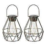 2er Set LED Solar Gitter Decken Hänge Leuchte Garten Beleuchtung Außen Pendel Lampe bronzefarben