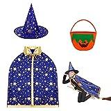 JIASHA Sombrero de Brujo de Halloween, Disfraz de Mago Capa de Bruja Capa de bruja para niños Capa de Bruja para Niña Con Sombrero, Bolsa de calabaza, Para Cosplay Fiesta (azul)