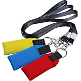 TecUnite Floating Neoprene Boat Keychain, 3 Pack Key Chain and Lanyard, Floatable Foam Key Fob for Water Sports (Red, Yellow, Blue, Black)