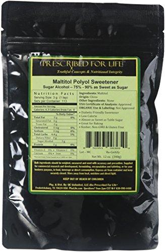 Prescribed for Life Maltitol - Low Calorie Natural Fine Granular Sugar Alternative - 60%-80% Sweetness of Sugar, 12 oz (340 g)