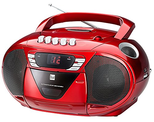 Dual P 65 Rot Portable Boombox (UKW-Radio, CD-Player, Kassettenabspieler, AUX-In Audioeingang) rot