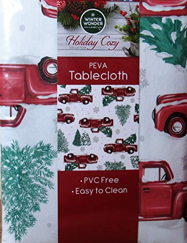 Winter Wonder Lane Vinyl Tablecloth, Red Truck Christmas Tree Farm Design, Eco Friendly PEVA, Flannel Backed (52x52)