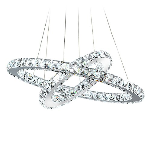 MEEROSEE MD8825-53MNCW Crystal Modern LED Ceiling Fixtures Pendant Lighting Dining Room Contemporary Adjustable Stainless Steel Cable 2 Rings Chandelier, Cool White 2r