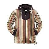 virblatt - Vintage Hoodie   100% Baumwolle   Baja Hoodie Vintage Pullover Hippie Jacke Vintage Kleidung Herren - Den HAAG L gelb