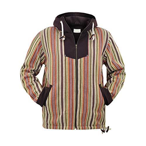 virblatt –Baja Jacke Poncho Herren Goa Hoodie Pullover Hippie Kleidung Ethno Mode - Amsterdam GLXL