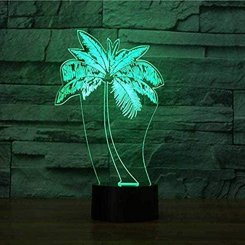 Interruptor Táctil De Luz Fantasma 3D Con Led De Coco, Lámpara De Mesa Usb Con Cambio De 7 Colores, Luz Nocturna De Planta 3D, El Mejor Regalo Para Niños