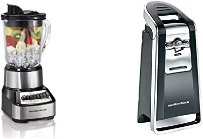 Hamilton Beach Wave Crusher Blender with 40oz Glass Jar & Beach (76606ZA) Smooth Touch Electric Automatic Can Opener with Easy Push Down Lever, Extra Tall, Black and Chrome