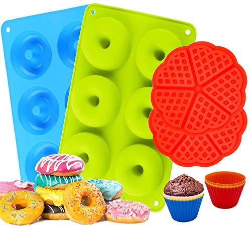 MYCKstore, 2 Moldes de Silicona Donuts resistente para hornear, 2 Moldes Gofre silicona Juego de 6 Moldes de silicona para hornear magdalenas y muffins herramienta ideal para la cocina.
