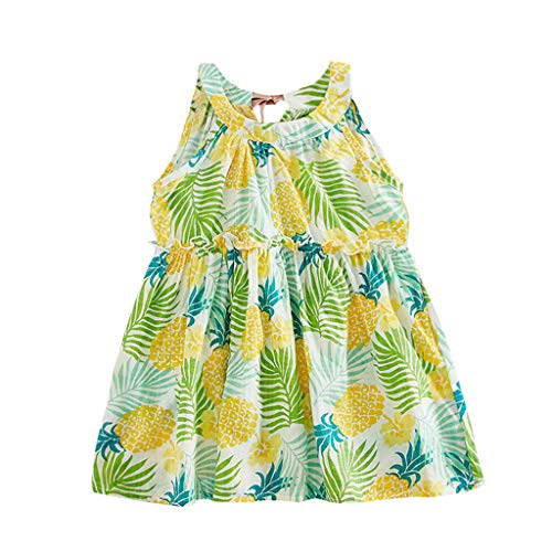 Briskorry Kinder Mädchen Cartoon Druck Rüschenärmel Tunika Prinzessin Party Kleid Sommerkleid Sommer Outfits