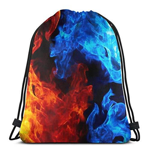 LREFON Turnbeutel Blaue und rote Flammen Turnbeutel Sportbeutel Rucksack Stofftasche Bag Beutel Customisable 36*42cm