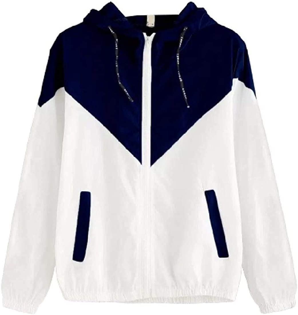 Yhsuk Women Zipper Contrast Color Bomber Fashion Hooded Windbreaker Coat Jacket