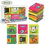 NEWSTYLE Libri di Stoffa per Neonati,Libro Stoffa Baby Senses Libro Cognition Libri Tessuto Libro Bambino in Tessuto da 6 Pezzi Educativi Regali per bambini
