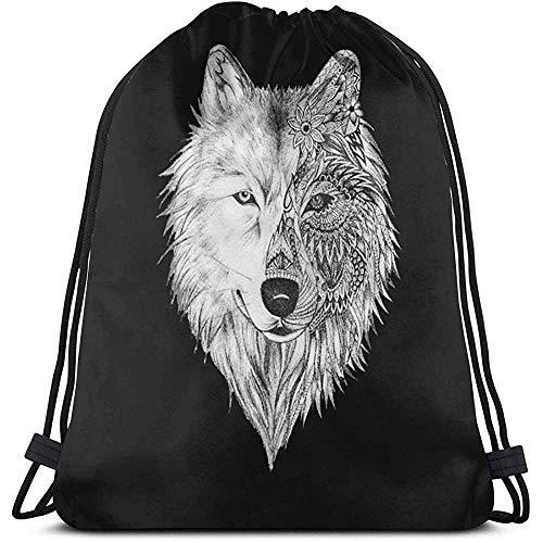 jingqi Big Wolf Head Drawstring Bag Rucksack Gym Sackpack Umhängetaschen Zum Schwimmen Wandern Yoga