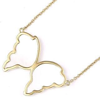 Collar de Concha Blanca de Oro de 18 Quilates, Forma Simple de Mariposa de Fritilar Blanca de Oro de 18 Quilates, Collar de Damas de Clavícula,como se Muestra,Un tamaño