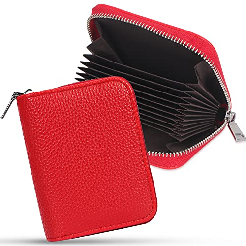 FYY Porte-Carte de Crédit, Fait à la Main Cuir de Haut de Gamme Support pour Cartes Zip Wallet Case pour Cartes pour universelles ID Cards, Rouge