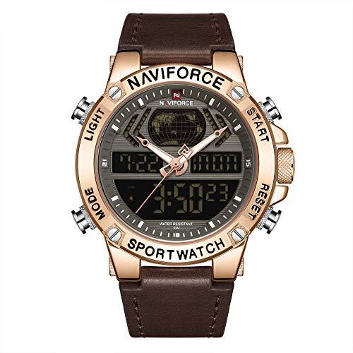 Reloj para Hombre Cronógrafo Reloj de Cuarzo analógico Vestido de Negocios Masculino -E