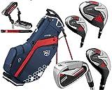 Desconocido Wilson Prostaff SGI - Juego Completo de Palos de Golf y Bolsa de Soporte para Hombre, Color Azul, Rojo y Blanco