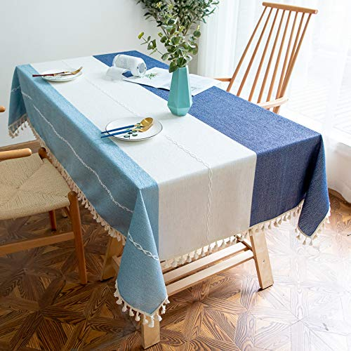 Cotton Linen Tablecloths Tassel White Embroidery,140 X 300cm Stripes Anti-Wrinkle Soft Table Cloth No-Slip Anti-Greasy Table Cover for Home
