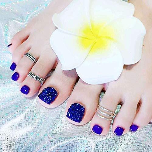 SRTYH Uñas postizas,Toe Nail Patch Wear Toe Nail Patch Nail Removable Beautiful Foot Metal Diamond Fake Nail Patch-A
