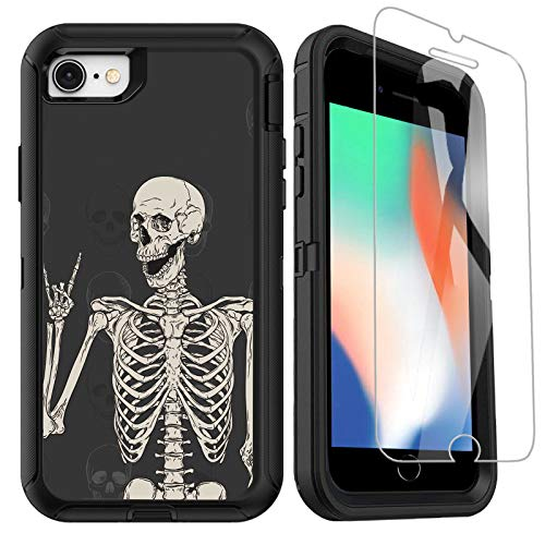 OTTARTAKS iPhone SE 2020 Case with Screen Protector, Cool Funny Skull iPhone 7 8 Case Rock and Roll Hippie Skeleton Design, Full Body Heavy Duty Shockproof Protective Case for iPhone SE 2nd/7/8/6/6s