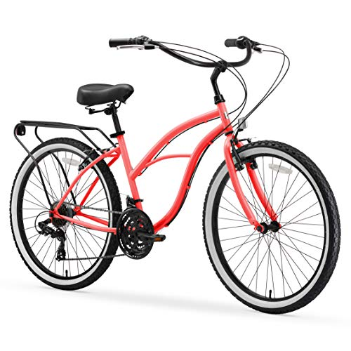 sixthreezero Around The Block Women's 21-Speed Beach Cruiser Bicycle, 26' Wheels, Coral Pink with Black Seat and Grips