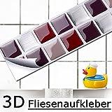 Grandora 7er Set 25,3 x 3,7 cm Pegatina Azulejos y baldosas Rojo Beige Plata I 3D Mosaico Autoadhesivo baño Cocina decoración lámina W5190