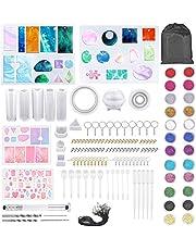151 stuks epoxyhars mallen siliconen mal set, Lre Co. DIY hars gieten sieraden mallen met netzak, sleutelhangers en oorbelhaken, epoxy sieraden maken gereedschap voor kunstliefhebbers