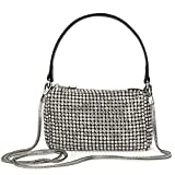 Silver Pouch Top Handle Handbag Diamond Purse for Women Small Cell Phone Bag with Silver Rhinestones Clutch Wallets CW-MWL-019-WT