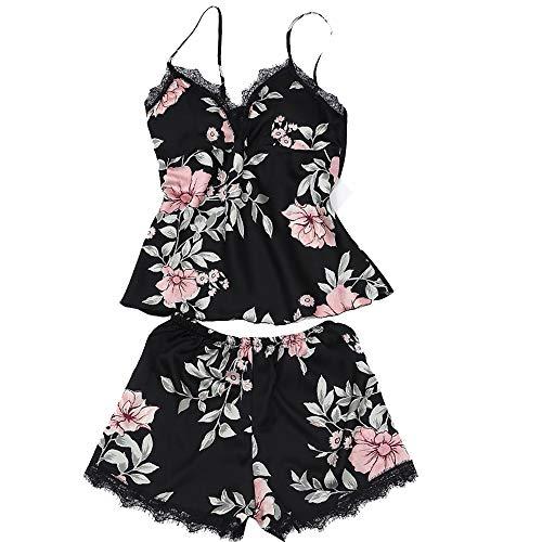 Mini Balabala Mujer Camisón Conjunto de Lencería 2 Piezas de Satén Costura de Encaje Espalda Cruzada Profundo V Pijama Sexy