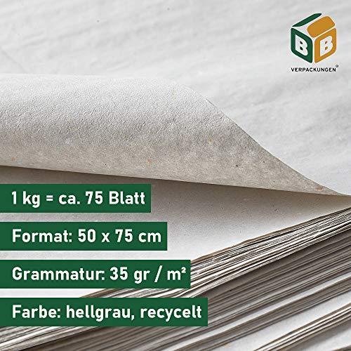 BB-Verpackungen Packseide, 5 kg, 50 x 75cm grau, Seidenpapier Polsterpapier Geschirrpapier Papckpapier - 4