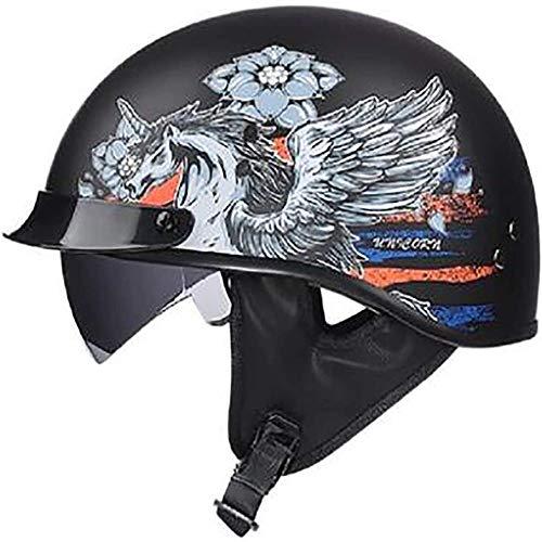 ZHXH Adult Harley Helm Open Face 4/8 Tragbarer Roller Motorrad Outdoor-Reithelm/Punkt Standard Sonnenschutz-Schutzhelm (m, l, xl, xxl)