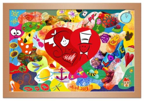 galleryy.net Holzmosaik zum Bemalen ++ Klassisches Herzmotiv ++ Rahmenfarbe BUCHE ++ 55x40cm mit ca. 35 Puzzleteile