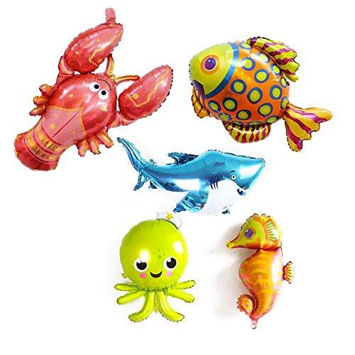 5 Pack Large Under the Sea Animal Balloons 38inch Cartoon Sea Horse Balloon/Octopus Balloon/Shark Balloon/Tropical Fish Balloons for Kid Birthday Party Decorations