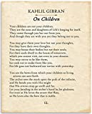 Kahlil Gibran - On Children - 11x14 Unframed Typography Book Page Print - Great Gift for Philosophical, Spiritual, and Inspirational Poetry Buffs Under $15