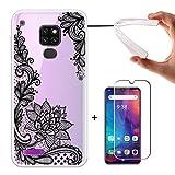 LJSM Hülle für Ulefone Note 7P + Panzerglas Bildschirmschutzfolie Schutzfolie - Semi-Transparent Weich Silikon Schutzhülle Crystal Flexibel TPU Tasche Hülle für Ulefone Note 7P 2019 (6.1
