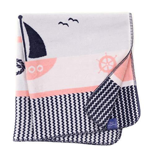 Babydecke/Kuscheldecke für Babys, kuschelig weich, Baumwollmischgewebe, 100x120 cm, Grau/Rosa - Schiff