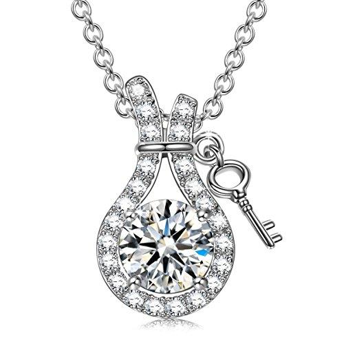 Sivery 925 Sterling Silber, Kette Damen, Zirkonia Anhänger, Schmuck Damen, Geschenke für Frauen