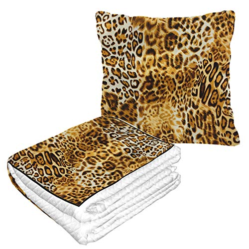 LIANGWE Well Traveled Luxury Colorful Leopard Print Travel Throw Blanket 50×60.23inch Warm Soft 2-in-1 Combo Travel Blanket For Plane Camping,car Trips Cars Blanket For Any Travel