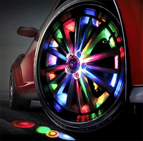 LHWLX 7 Farben Solar Energie RGB Flash Auto Rad Reifen Ventilkappe Lichter W/Fernbedienung Radnabenlicht Felgen Beleuchtung (4 Stück)