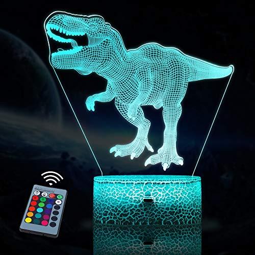 JQGO Luz Nocturna Infantil, Luces nocturnas Ilusión 3D Dinosaurio para niños con mando a distancia y 16 colores cambiantes y función regulable, regalo de cumpleaños para jóvenes, niñas, hombres