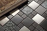 10 cm x 10 cm modello. Acciaio inox e vetro mosaico piastrelle modello in nero e argento (MT0002 modello)
