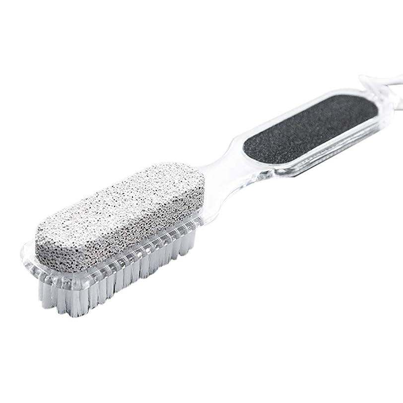 デザイナー多くの危険がある状況前提条件SODIAL 家庭用足の軽石、4 In 1石死んだ皮膚のリムーバー、ブラシ、ペディキュア、研磨、ダブルヘッドのクリーニングブラシ-清掃&衛生用品、クリーニングのブラシ