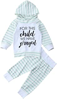 Cute for This Child We Have Prayed Outfits Newborn Baby Girls Set Bodysuits Long Sleeve Clothes T Shirt