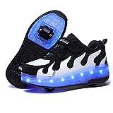 AIkuass Roller Shoes for Girls Boys Kids Dual Wheel LED Blinking Skate Sneaker Shoes, Big Kids 10.5-11 US