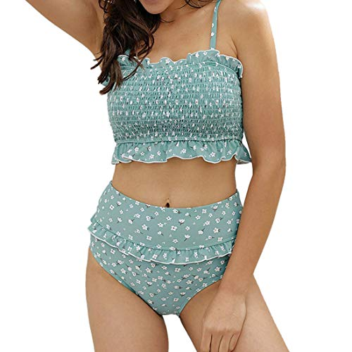 ZHUQI Damen Blumen Bikini Set BademodeSchlinge Rüschen Bandeau Gesmokte High Waist Bikinihose Zweiteiliger Badeanzug XL