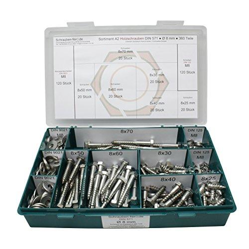 Sortiment DIN 571 Edelstahl A2 Schlüsselschrauben Durchmesser 8,0 mm, 360 Teile ; Sechskant/Holzschrauben inc. Scheiben, Material VA V2A