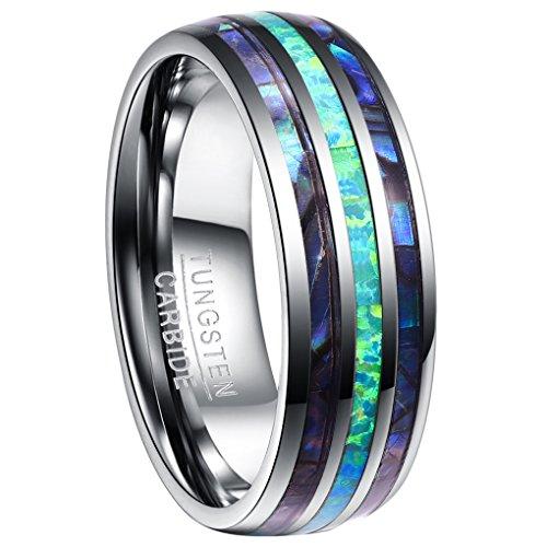 Nuncad Ring Herren/Damen mit Opal + Muschel Silber 8mm, Ring Unisex aus Wolfram Comfort Fit Design für Hochzeit, Alltag und Jahrestag, Größe 62 (22)