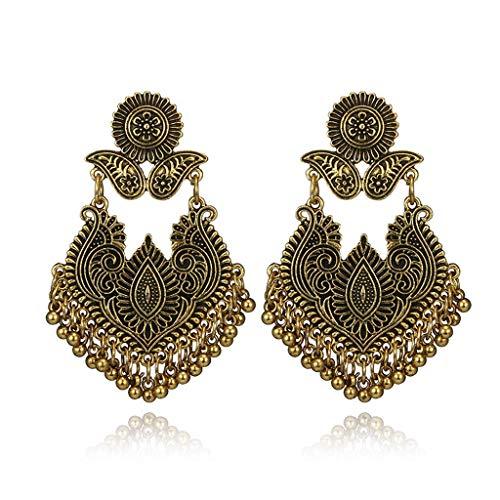 DealMux Boho Bali Jhumka Jhumki Lotus Gypsy borla pendientes colgantes mujeres joyería de moda oro